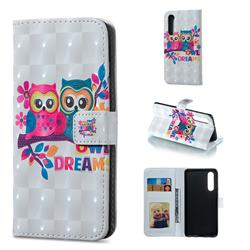 Couple Owl 3D Painted Leather Phone Wallet Case for Huawei P30
