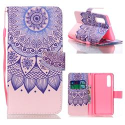 Purple Sunflower Leather Wallet Phone Case for Huawei P30