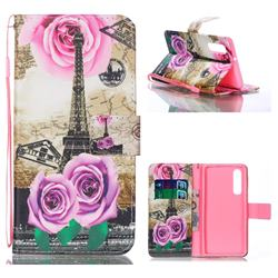 Rose Eiffel Tower Leather Wallet Phone Case for Huawei P30