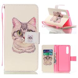 Lovely Cat Leather Wallet Phone Case for Huawei P30