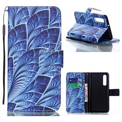 Blue Feather Leather Wallet Phone Case for Huawei P30