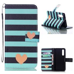Blue Stripe Heart Leather Wallet Phone Case for Huawei P30