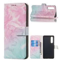 Pink Green Marble PU Leather Wallet Case for Huawei P30