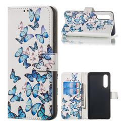 Blue Vivid Butterflies PU Leather Wallet Case for Huawei P30
