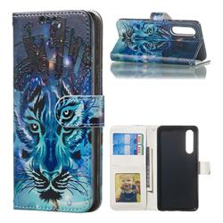 Ice Wolf 3D Relief Oil PU Leather Wallet Case for Huawei P30