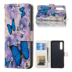 Purple Flowers Butterfly 3D Relief Oil PU Leather Wallet Case for Huawei P30