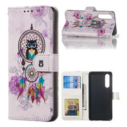 Wind Chimes Owl 3D Relief Oil PU Leather Wallet Case for Huawei P30