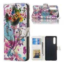Flower Elephant 3D Relief Oil PU Leather Wallet Case for Huawei P30