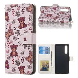 Cute Bear 3D Relief Oil PU Leather Wallet Case for Huawei P30