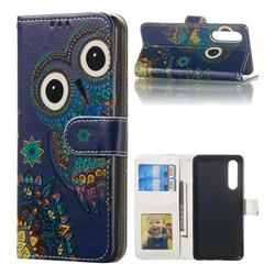 Folk Owl 3D Relief Oil PU Leather Wallet Case for Huawei P30