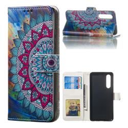 Mandala Flower 3D Relief Oil PU Leather Wallet Case for Huawei P30