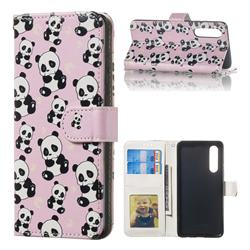 Cute Panda 3D Relief Oil PU Leather Wallet Case for Huawei P30