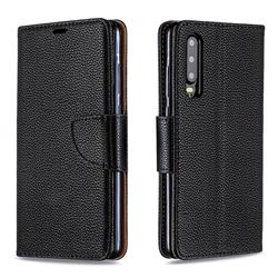Classic Luxury Litchi Leather Phone Wallet Case for Huawei P30 - Black
