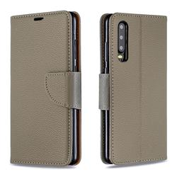 Classic Luxury Litchi Leather Phone Wallet Case for Huawei P30 - Gray