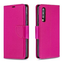 Classic Luxury Litchi Leather Phone Wallet Case for Huawei P30 - Rose