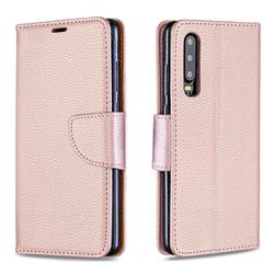 Classic Luxury Litchi Leather Phone Wallet Case for Huawei P30 - Golden