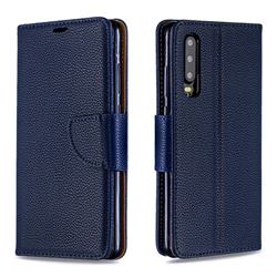 Classic Luxury Litchi Leather Phone Wallet Case for Huawei P30 - Blue