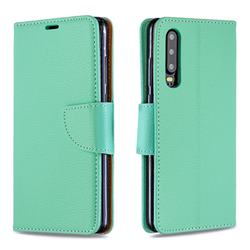 Classic Luxury Litchi Leather Phone Wallet Case for Huawei P30 - Green