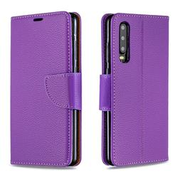 Classic Luxury Litchi Leather Phone Wallet Case for Huawei P30 - Purple