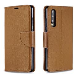 Classic Luxury Litchi Leather Phone Wallet Case for Huawei P30 - Brown