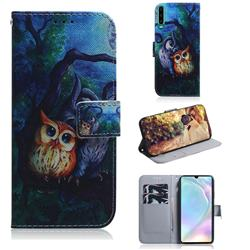 Oil Painting Owl PU Leather Wallet Case for Huawei P30