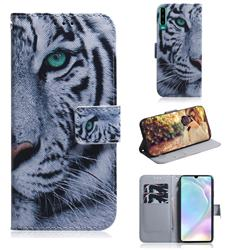 White Tiger PU Leather Wallet Case for Huawei P30