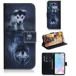 Wolf and Dog PU Leather Wallet Case for Huawei P30