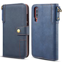 Retro Luxury Cowhide Leather Wallet Case for Huawei P30 - Blue