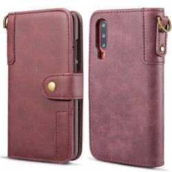 Retro Luxury Cowhide Leather Wallet Case for Huawei P30 - Wine Red