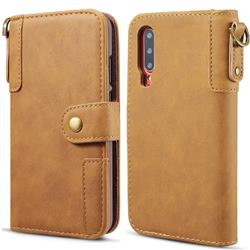 Retro Luxury Cowhide Leather Wallet Case for Huawei P30 - Brown