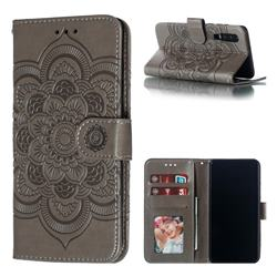 Intricate Embossing Datura Solar Leather Wallet Case for Huawei P30 - Gray