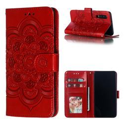 Intricate Embossing Datura Solar Leather Wallet Case for Huawei P30 - Red