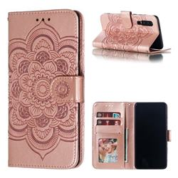 Intricate Embossing Datura Solar Leather Wallet Case for Huawei P30 - Rose Gold