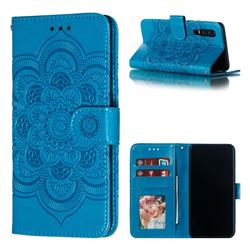 Intricate Embossing Datura Solar Leather Wallet Case for Huawei P30 - Blue