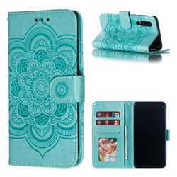 Intricate Embossing Datura Solar Leather Wallet Case for Huawei P30 - Green