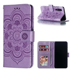 Intricate Embossing Datura Solar Leather Wallet Case for Huawei P30 - Purple