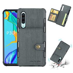 Brush Multi-function Leather Phone Case for Huawei P30 - Gray