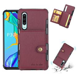 Brush Multi-function Leather Phone Case for Huawei P30 - Wine Red