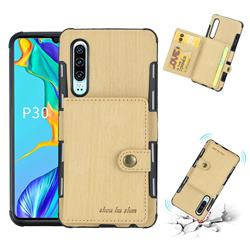 Brush Multi-function Leather Phone Case for Huawei P30 - Golden