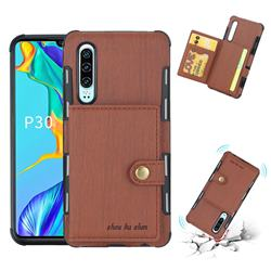 Brush Multi-function Leather Phone Case for Huawei P30 - Brown