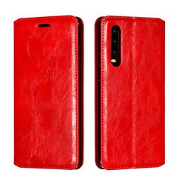 Retro Slim Magnetic Crazy Horse PU Leather Wallet Case for Huawei P30 - Red