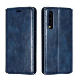 Retro Slim Magnetic Crazy Horse PU Leather Wallet Case for Huawei P30 - Blue