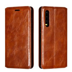 Retro Slim Magnetic Crazy Horse PU Leather Wallet Case for Huawei P30 - Brown