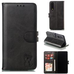 Embossing Happy Cat Leather Wallet Case for Huawei P30 - Black