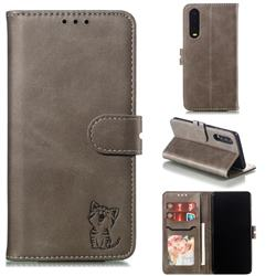 Embossing Happy Cat Leather Wallet Case for Huawei P30 - Gray