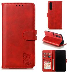 Embossing Happy Cat Leather Wallet Case for Huawei P30 - Red