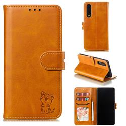 Embossing Happy Cat Leather Wallet Case for Huawei P30 - Yellow
