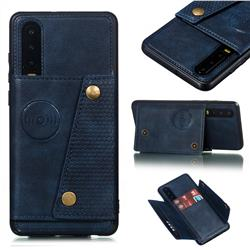 Retro Multifunction Card Slots Stand Leather Coated Phone Back Cover for Huawei P30 - Blue