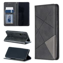 Prismatic Slim Magnetic Sucking Stitching Wallet Flip Cover for Huawei P30 - Black