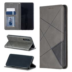 Prismatic Slim Magnetic Sucking Stitching Wallet Flip Cover for Huawei P30 - Gray